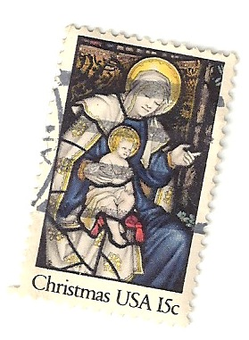1980 Christmas Stamp 15 Cent Stained Glass Mary Stamp