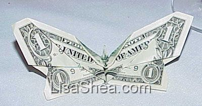 Money Gift Idea: Butterfly, dollar bill origami tutorial, easy ... | 211x400
