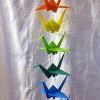 String of Hanging Origami Crane
