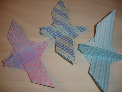 Blue origami doves