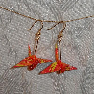 crane origami earrings