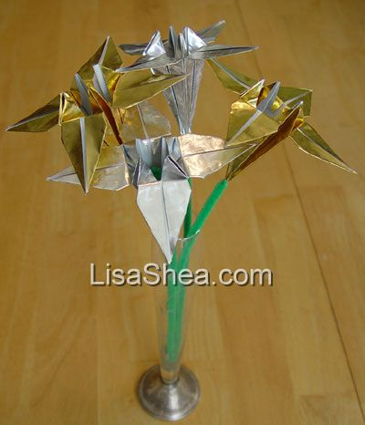 gold silver origami flowers