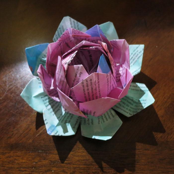 literary origami lotus flower