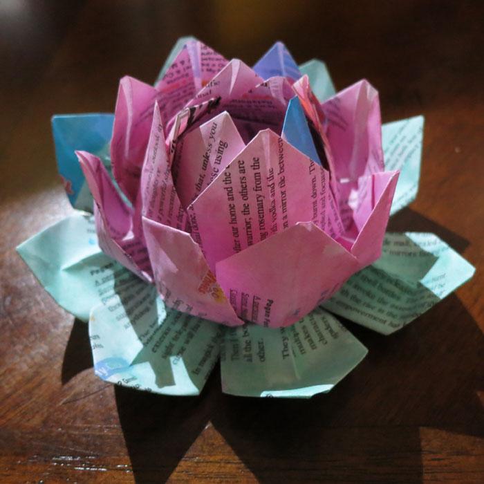 Origami literary lotus flower