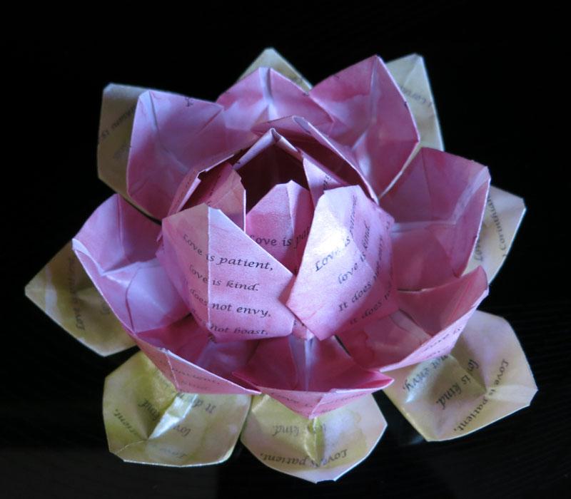 Love is patient origami lotus flower mightylinksfo