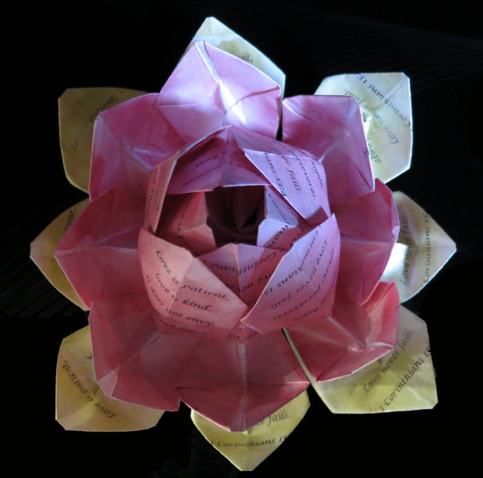 Love Is Patient Origami Lotus Flower