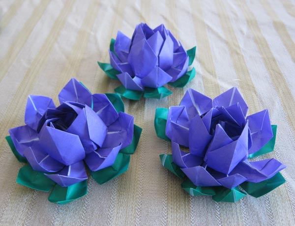 Purple origami lotus flower mightylinksfo