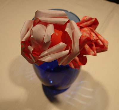 Red origami roses