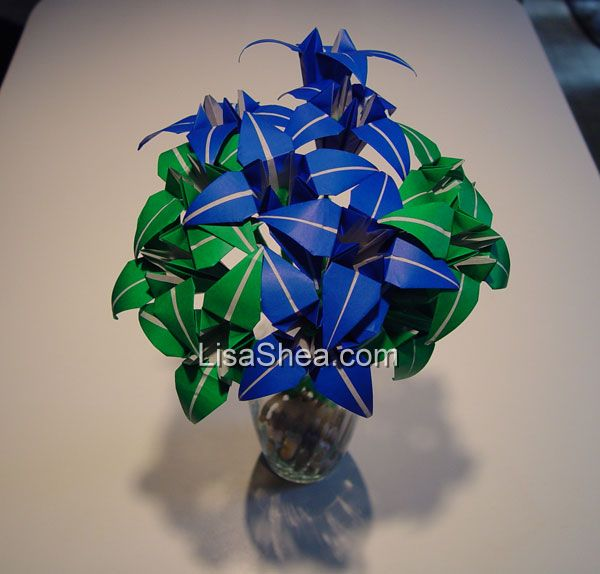 blue origami flowers