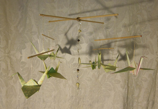 Green Eight Crane Origami Mobile