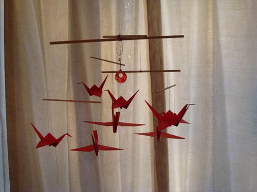 Red Crane Origami Mobile