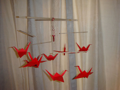 Red Eight Crane Origami Mobile