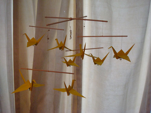 Yellow Crane Origami Mobile