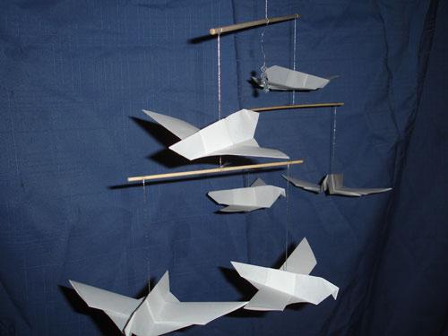Dove Origami Mobile