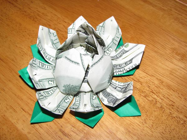 money flower - origami lotus - money lotus - dollar bill flower ... | 450x600