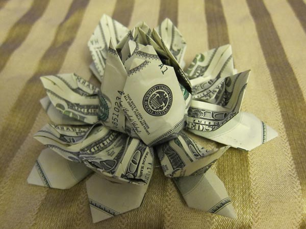 Money origami lotus flower money origami lotus flower from twelve 100 bills mightylinksfo