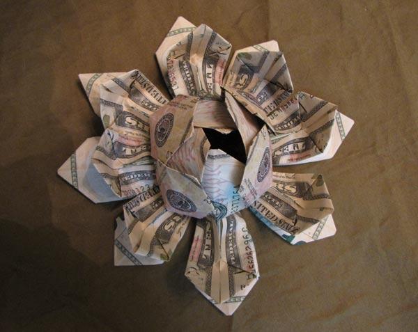 Money Plumeria Origami Flower Dollar Tutorial DIY Folded No glue ... | 477x600
