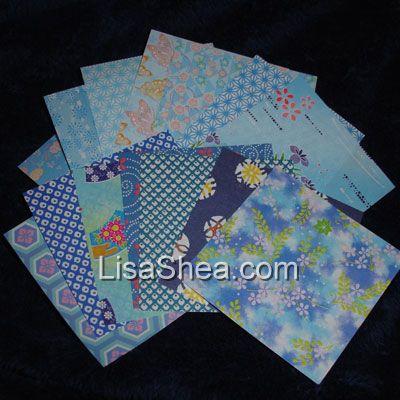 Blue Mini Washi Origami Paper - photo#46