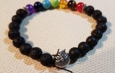 Owl Chakra Lava Rock Bracelet