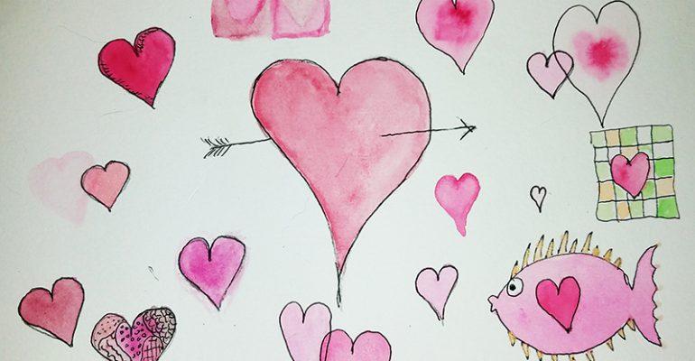Lisa Shea Hearts Watercolor