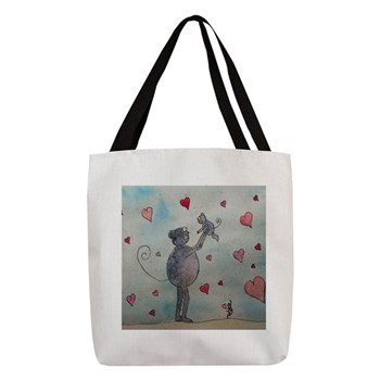 Mouse with Hearts Tote Bag