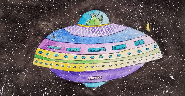 Lisa Shea Pen and Ink Watercolor UFO