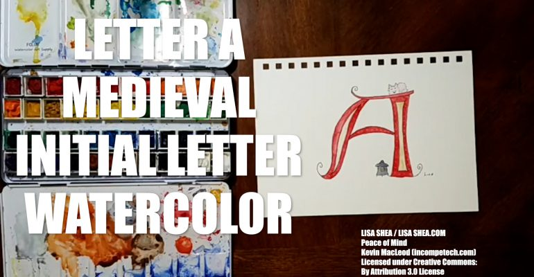 Letter A Medieval Initial Letter Watercolor