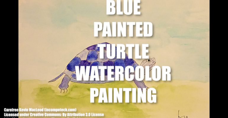 Blue Painted Turtle Watercolor