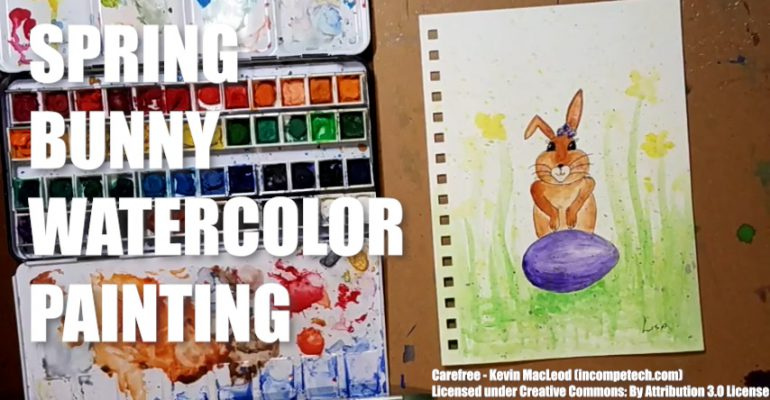 Spring Bunny Watercolor Painting