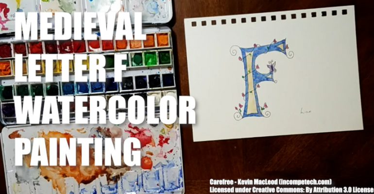 Medieval Letter F Watercolor