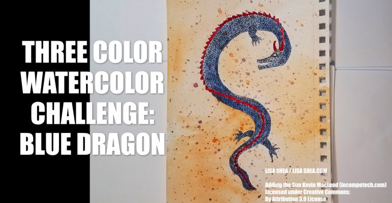 Blue Dragon Watercolor Painting