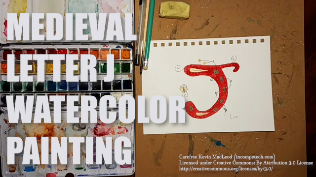 Letter J Medieval Initial Letter Watercolor Step by Step Instructions