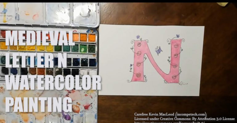 Letter N Medieval Initial Letter Watercolor Step by Step Instructions