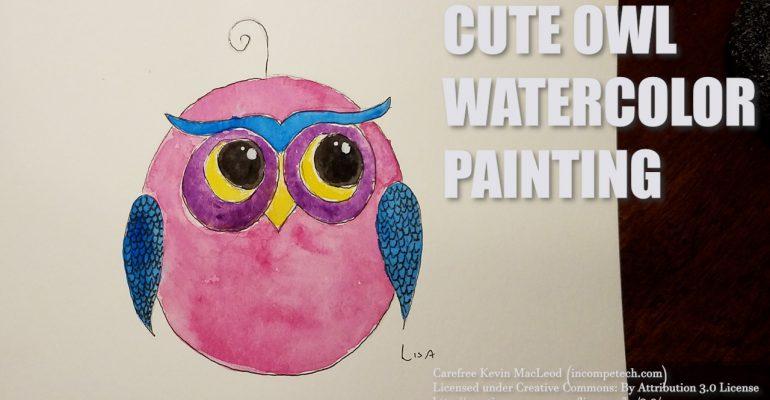 Cute Owl Watercolor Painting Step by Step Tutorial