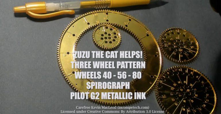 Zuzu the Cat Helps! Gold Three-Wheel Pattern - Wheels 40 56 80 Spirograph Die-Cast Collector's Set