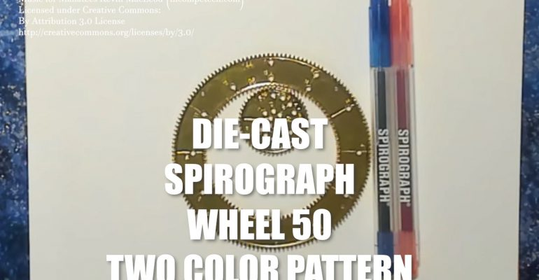Red and Blue Two-Tone Pattern with Wheel 50 Spirograph Die-Cast Collector's Set