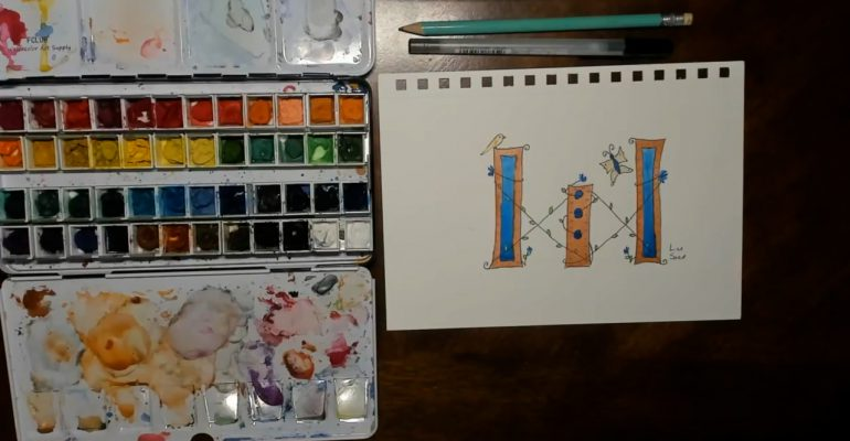 Medieval Watercolor Letter W