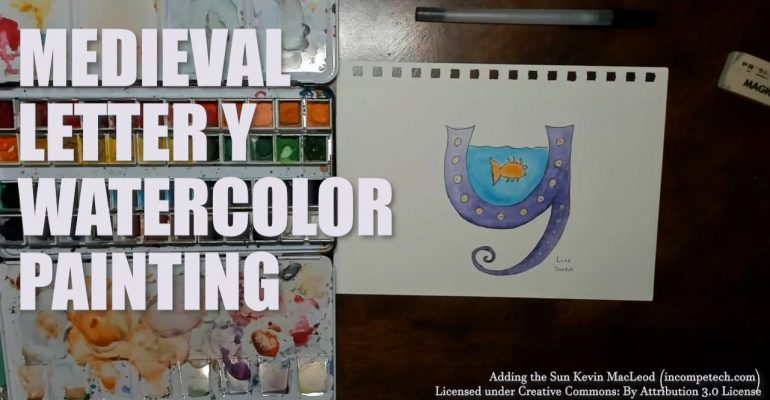 Illustrated Watercolor Letter Y