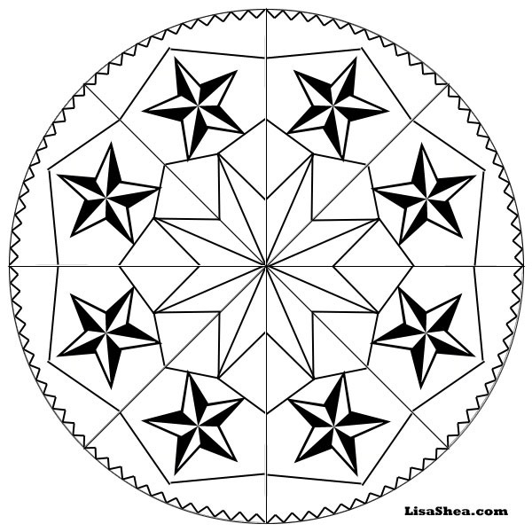 stars printable mandala